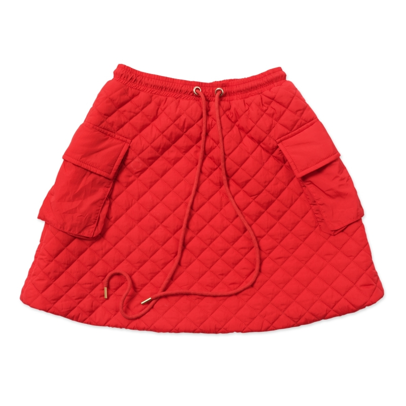 Coral Red Lightweight Quilted Skirt