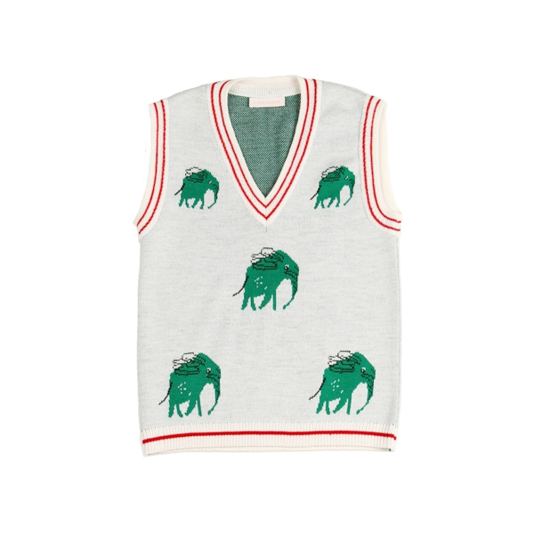 Knitted vest Green elephants