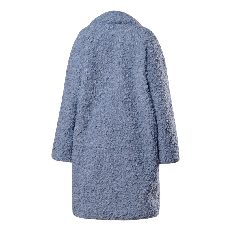 Adult faux fur coat in celestial blue