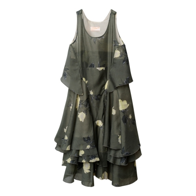 Butterfly dress khaki